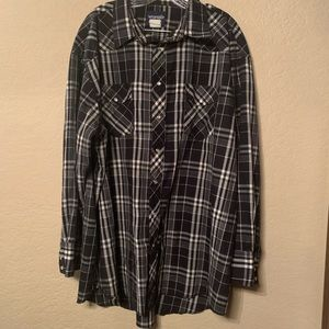 XL wrangler Black Plaid Rodeo Pearl Snap